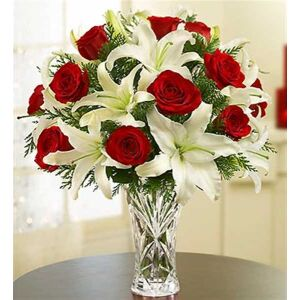 Arrangement of Red Roses and White Liliums in Vase